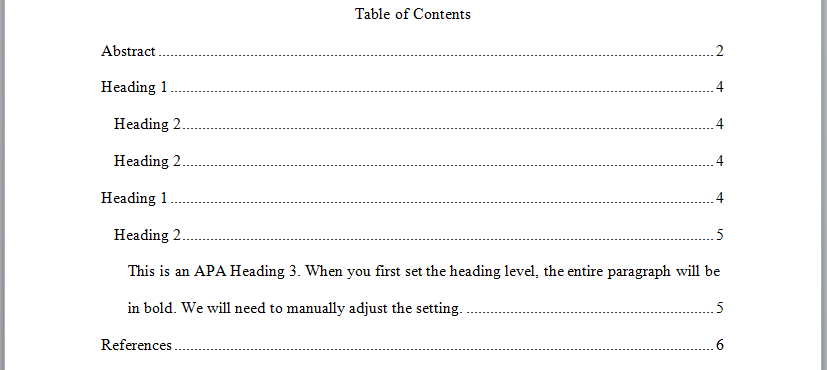 table of contents apa style template - perrla knowledge base